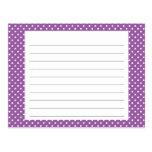 Tarjeta púrpura de la receta del lunar postales