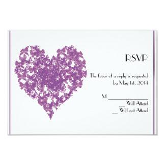 Tarjeta púrpura de la respuesta del corazón de la invitación 8,9 x 12,7 cm