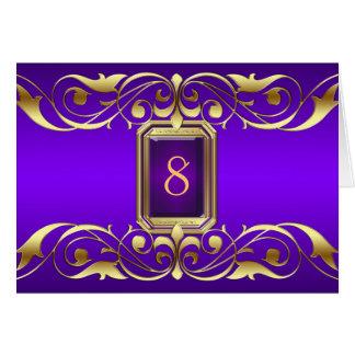 Tarjeta púrpura de la tabla de la voluta del oro d