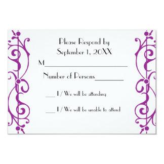 Tarjeta (púrpura) de marfil de RSVP de la fibrilla Invitación 8,9 X 12,7 Cm