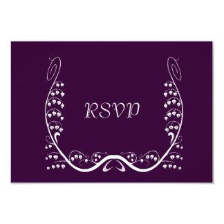 "Tarjeta púrpura de Nouveau Snowdrops RSVP Invitación 3.5"" X 5"""
