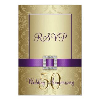 "Tarjeta púrpura de RSVP del aniversario de boda Invitación 3.5"" X 5"""