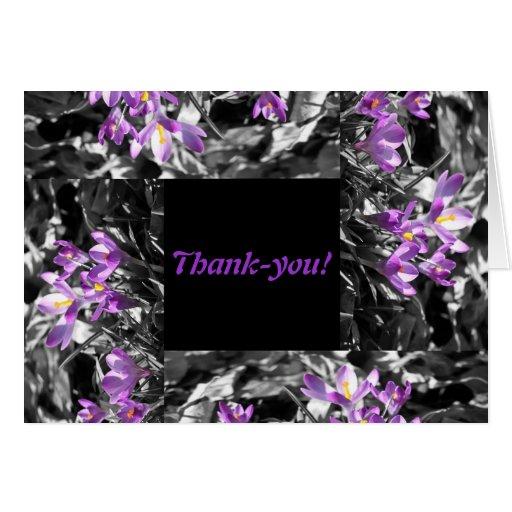 Tarjeta púrpura del de agradecimiento