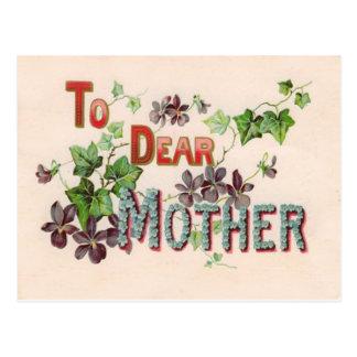 Tarjeta púrpura del día de madre de las tarjetas postales