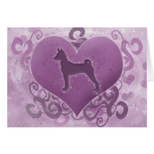 Tarjeta púrpura del el día de San Valentín de Base