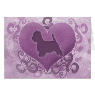 Tarjeta púrpura del el día de San Valentín de West
