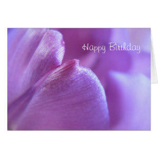 "Tarjeta púrpura del ""feliz cumpleaños"" del tulipán"