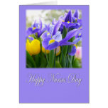 Tarjeta púrpura del iris del día feliz de las enfe
