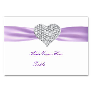 Tarjeta púrpura del lugar de la tabla del boda del