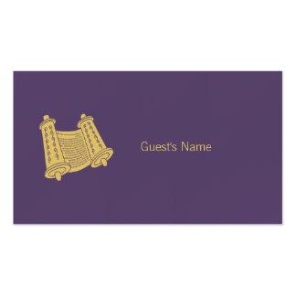 Tarjeta púrpura del lugar de Torah del adorno de Tarjetas De Visita