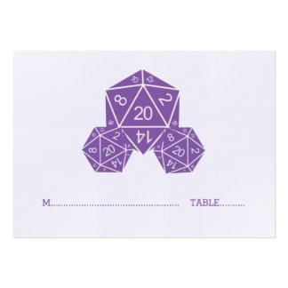 Tarjeta púrpura del lugar del boda de los dados tarjetas de visita grandes