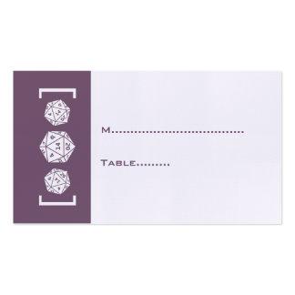 Tarjeta púrpura del lugar del boda del tarjetas de visita