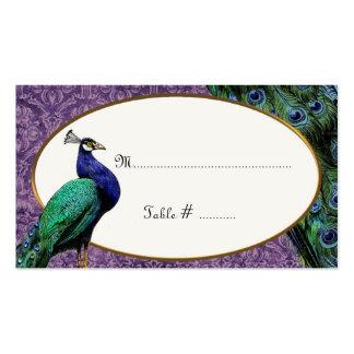 Tarjeta púrpura del lugar del pavo real real tarjetas de visita