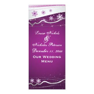 """Tarjeta púrpura del menú del boda del copo de invitación 4"""" x 9.25"""""""