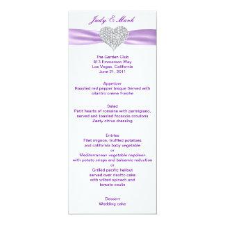 """Tarjeta púrpura del menú del boda del corazón del invitación 4"""" x 9.25"""""""