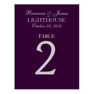 Tarjeta púrpura del número 2 de la tabla de la bod tarjetas postales