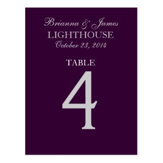 Tarjeta púrpura del número 4 de la tabla de la postal