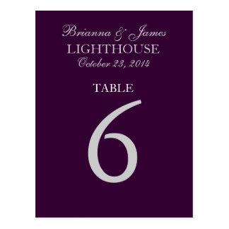 Tarjeta púrpura del número 6 de la tabla de la postal