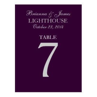 Tarjeta púrpura del número 7 de la tabla de la bod tarjeta postal