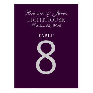 Tarjeta púrpura del número 8 de la tabla de la bod tarjeta postal