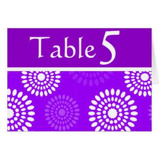 Tarjeta púrpura del número de la tabla de las flor
