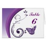 Tarjeta púrpura del número de la tabla de mariposa