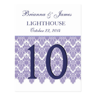 Tarjeta púrpura del número de la tabla del boda postales