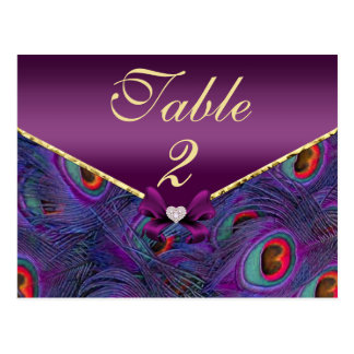 Tarjeta púrpura del número de la tabla del pavo postales