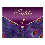 Tarjeta púrpura del número de la tabla del pavo re