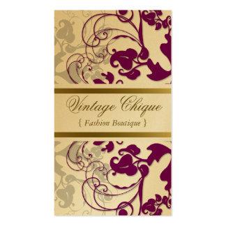 tarjeta púrpura del perfil del ciruelo floral del tarjetas de visita