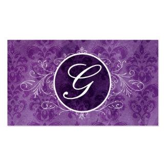 Tarjeta púrpura del perfil del monograma del tarjetas de visita