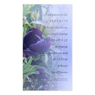 Tarjeta púrpura del perfil del tulipán del rezo de tarjetas de visita