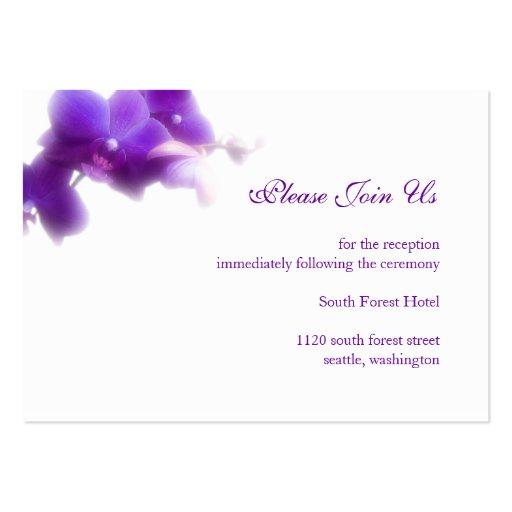 Tarjeta púrpura del recinto de la recepción nupcia plantilla de tarjeta de negocio