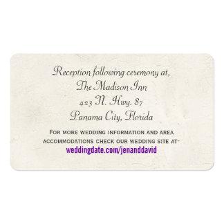 Tarjeta púrpura del recinto del boda de la maripos plantilla de tarjeta de negocio