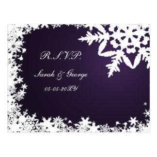 tarjeta púrpura del rsvp del boda del invierno tarjetas postales