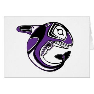 Tarjeta púrpura del tótem de la ballena