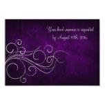 Tarjeta púrpura elegante de RSVP de la bodas de Invitacion Personal