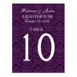 Tarjeta púrpura elegante del número de la tabla de postal