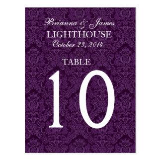 Tarjeta púrpura elegante del número de la tabla tarjetas postales