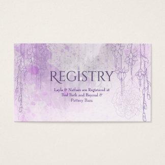Tarjeta púrpura encantadora del registro del boda tarjetas de visita
