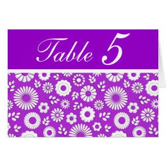 Tarjeta púrpura floral del número de la tabla del