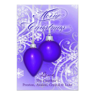Tarjeta púrpura helada de las vacaciones de comunicado personal