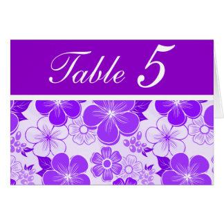 Tarjeta púrpura linda del número de la tabla de la