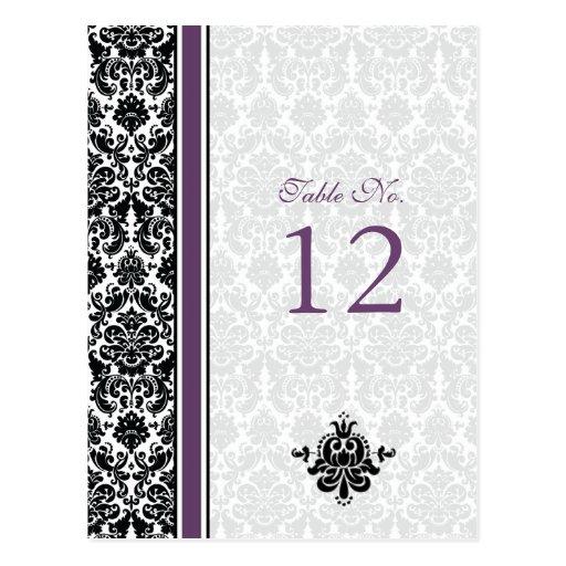 Tarjeta púrpura, negra, blanca del número de la ta tarjeta postal