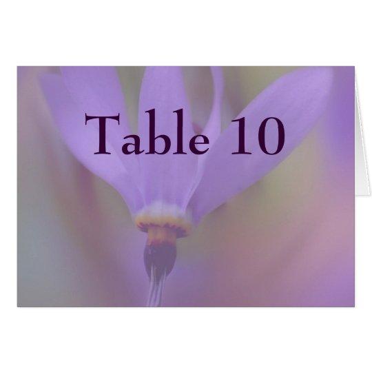 Tarjeta púrpura pálida del número de la tabla del