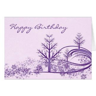 Tarjeta púrpura rosada del feliz cumpleaños de la