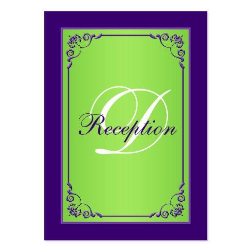 Tarjeta púrpura, verde del recinto de la recepción tarjeta de negocio