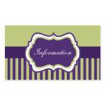 Tarjeta púrpura, verde, y blanca del recinto del d tarjetas de visita