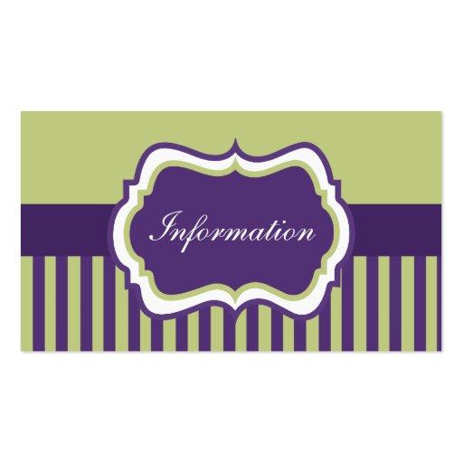 Tarjeta púrpura, verde, y blanca del recinto del tarjetas de visita