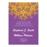 Tarjeta púrpura y amarilla del vintage de la invitaciones personalizada